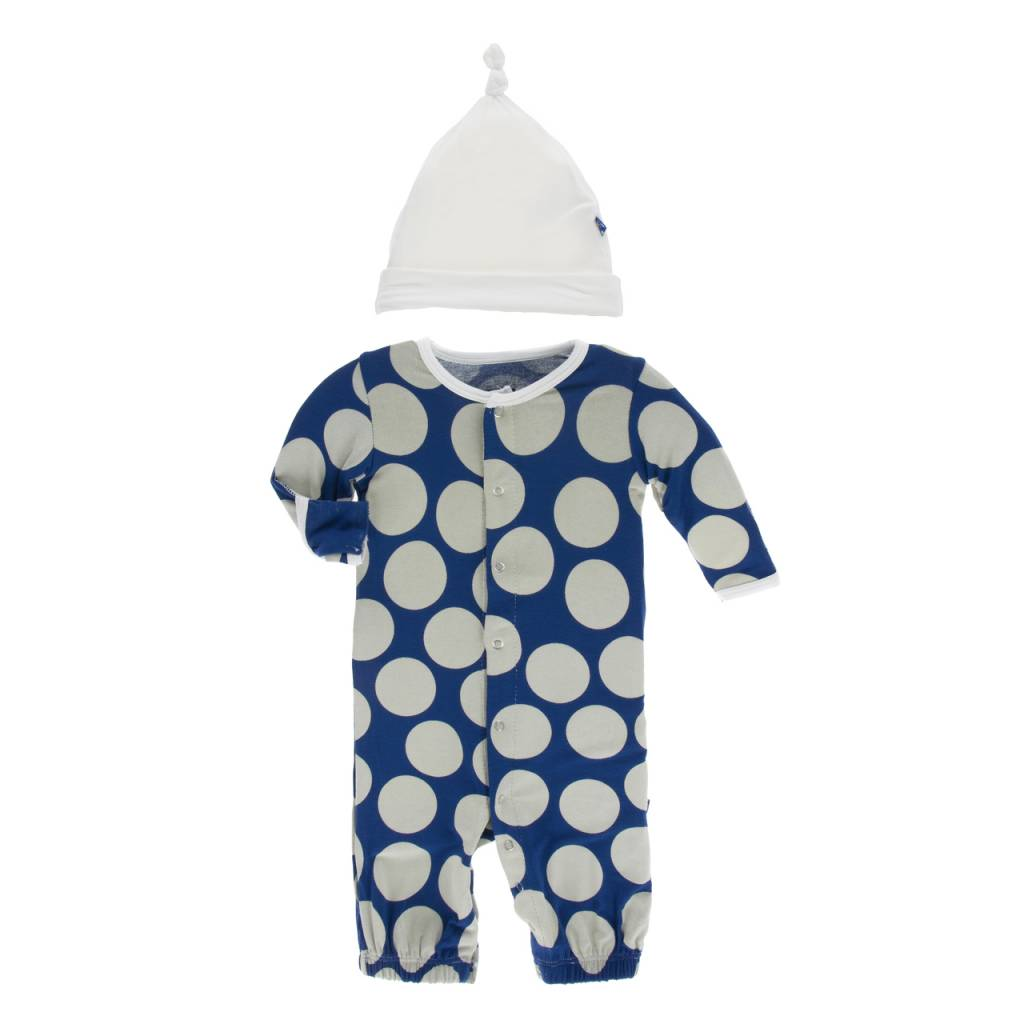 KicKee Pants Layette Converter Gown & Knot Hat Set- Navy Mod Dot ...