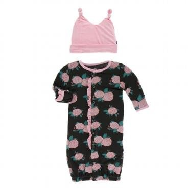 KicKee Pants KicKee Pants Ruffle Layette Converter Gown & Knot Hat Set- English Rose Garden