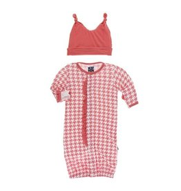 KicKee Pants KicKee Pants Layette Converter Gown & Knot Hat Set- English Rose Houndstooth