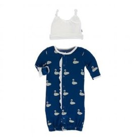 KicKee Pants KicKee Pants Ruffle Layette Converter Gown & Knot Hat Set- Navy Queen's Swans