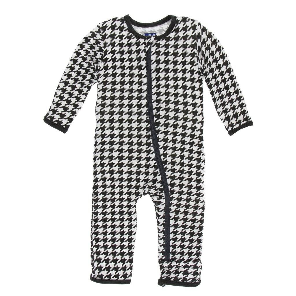 KicKee Pants KicKee Pants Coverall with Zipper- Zebra Houndstooth