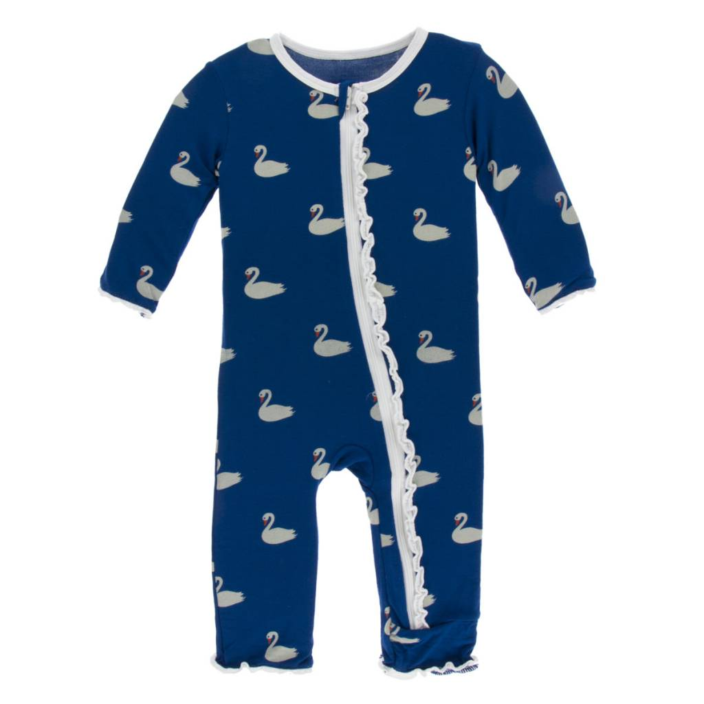 KicKee Pants KicKee Pants Muffin Ruffle Coverall with Zipper- Navy Queen's Swan