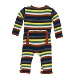 KicKee Pants KicKee Pants Coverall with Zipper Dark London Stripe