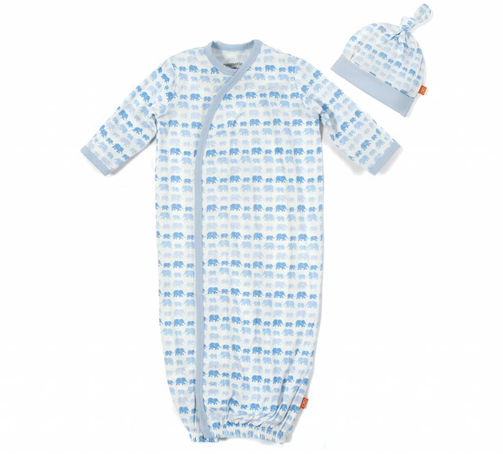 Magnetic Me Magnetic Me Modal Gown & Hat Set - Dancing Elephants (NB-3mo)