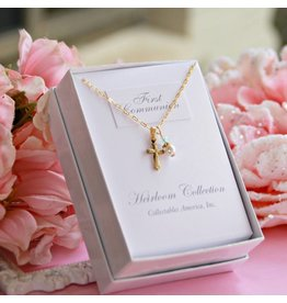 Collectables America First Communion Gold Finish Cross and Pearl with a touch of Crystal Necklace
