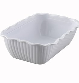 "Winco Deli Crock, 10"" x 7"" x 3"", White"