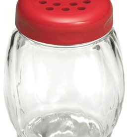 Tablecraft Glass Shaker, Red Perf Top, 6 oz