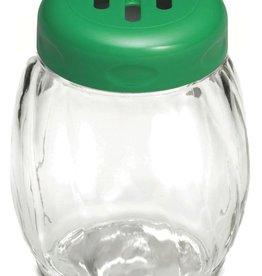 Tablecraft Glass Shaker, Green Slot Top, 6 oz