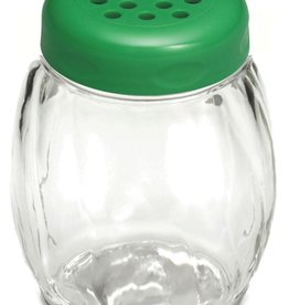 Tablecraft Glass Shaker, Green Perf Top, 6 oz