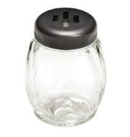 Tablecraft Plastic Swirl Shaker, Black Slot Top, 6 oz