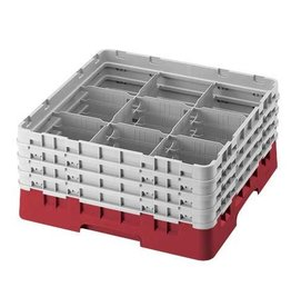 Cambro Diswasher Rack, 9 Comp, Red