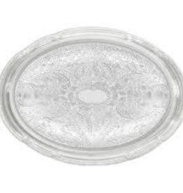 "Winco Oval Chrome Pltd Tray, 18.75"" x 13"""
