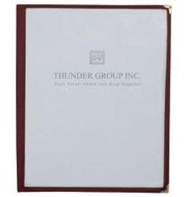 "Thunder Group Single Menu Cover, Maroon, 8-1/2"" x 11"""