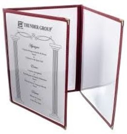 "Thunder Group Triple Menu Cover, Maroon, 8-1/2"" x 11"""