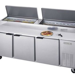 "Beverage Air Pizza Top Refrigerated Counter, 3 Sect, 93"", 39.8 cu. ft."