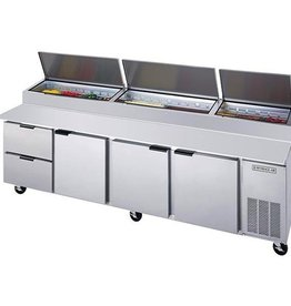 Beverage Air Pizza Top Refrigerated Counter, 4 Section, 119W, 52.5 cu.ft., 2 Drawers