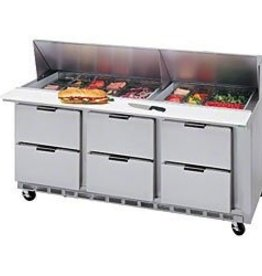 "Beverage Air Sandwich Unit, 3 Sect,. 72"", (6) Drawer, (8) 1/6 Pans"