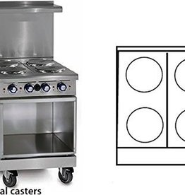 Imperial Electric Range, (4) Plates, (1) Cabinet Base, 24""