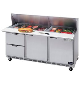 "Beverage Air Sandwich Unit, 2 Drawer, 2 Door, 18 Pan, 72"", 21.5 cu. ft.,"