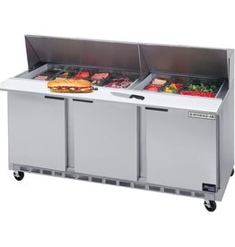 "Beverage Air Sandwich Unit, 3 Sect., 18 Pan, 72"", 21.5 cu.ft"