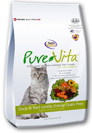Pure Vita PureVita Grain Free Duck & Red Lentils Entree for Cats- 15lbs