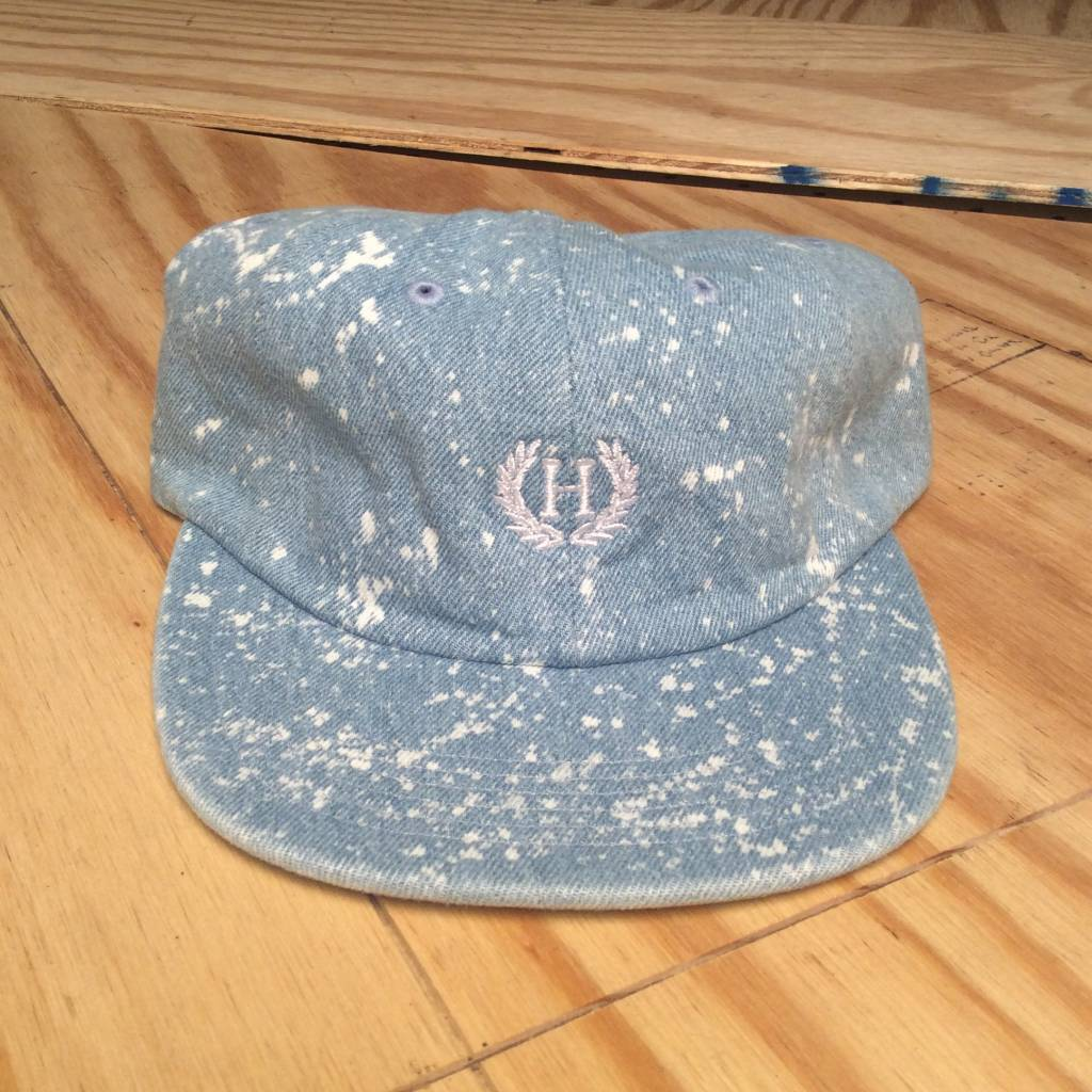 HUF Crest 6 Panel Hat Bleached Denim
