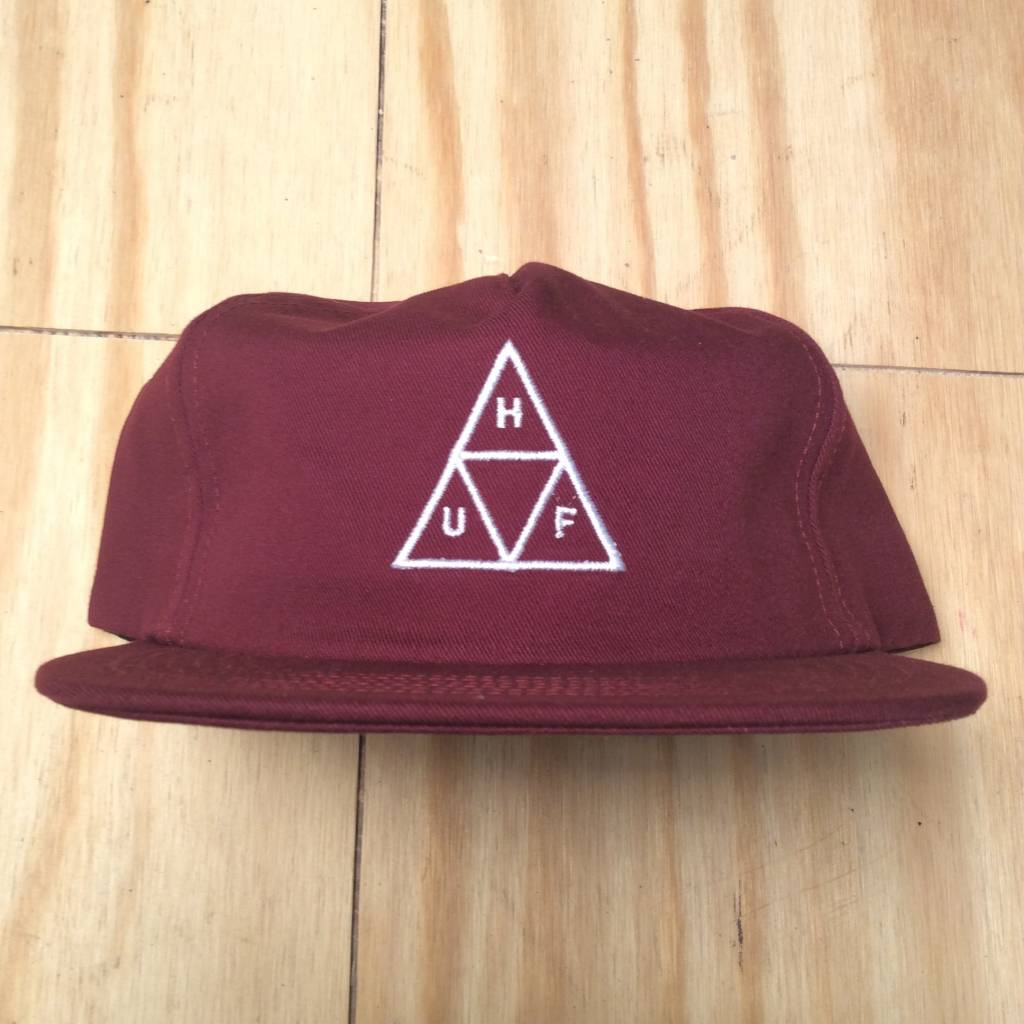 HUF Triple Triangle Snapback Hat Burgundy
