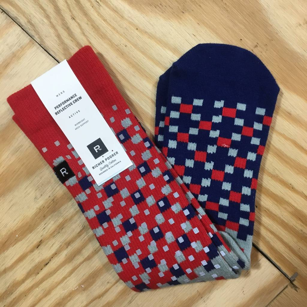 RICHER POORER Pixel Reflective Sock Red / Blue