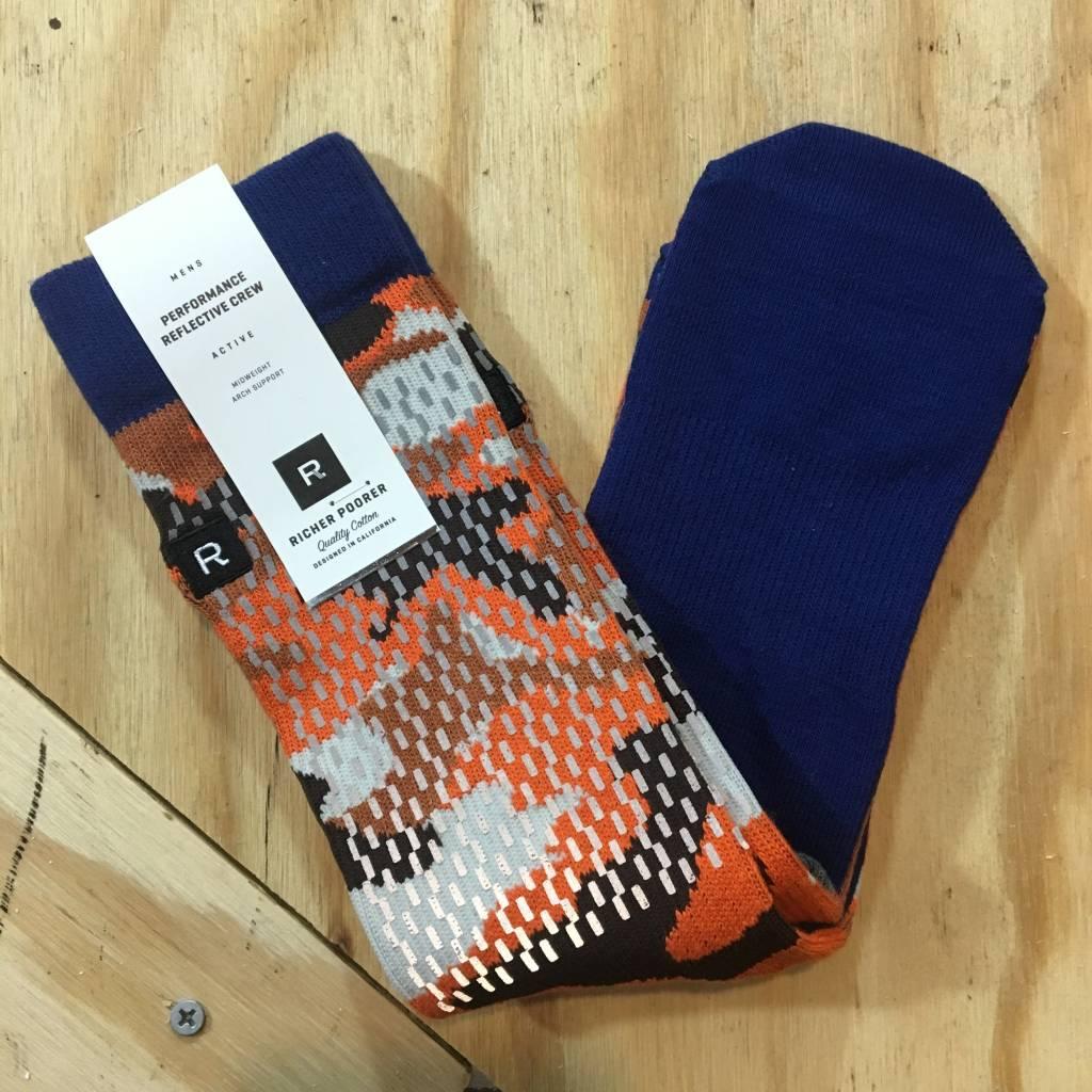 RICHER POORER Rain Camo Reflective Sock Orange / Navy