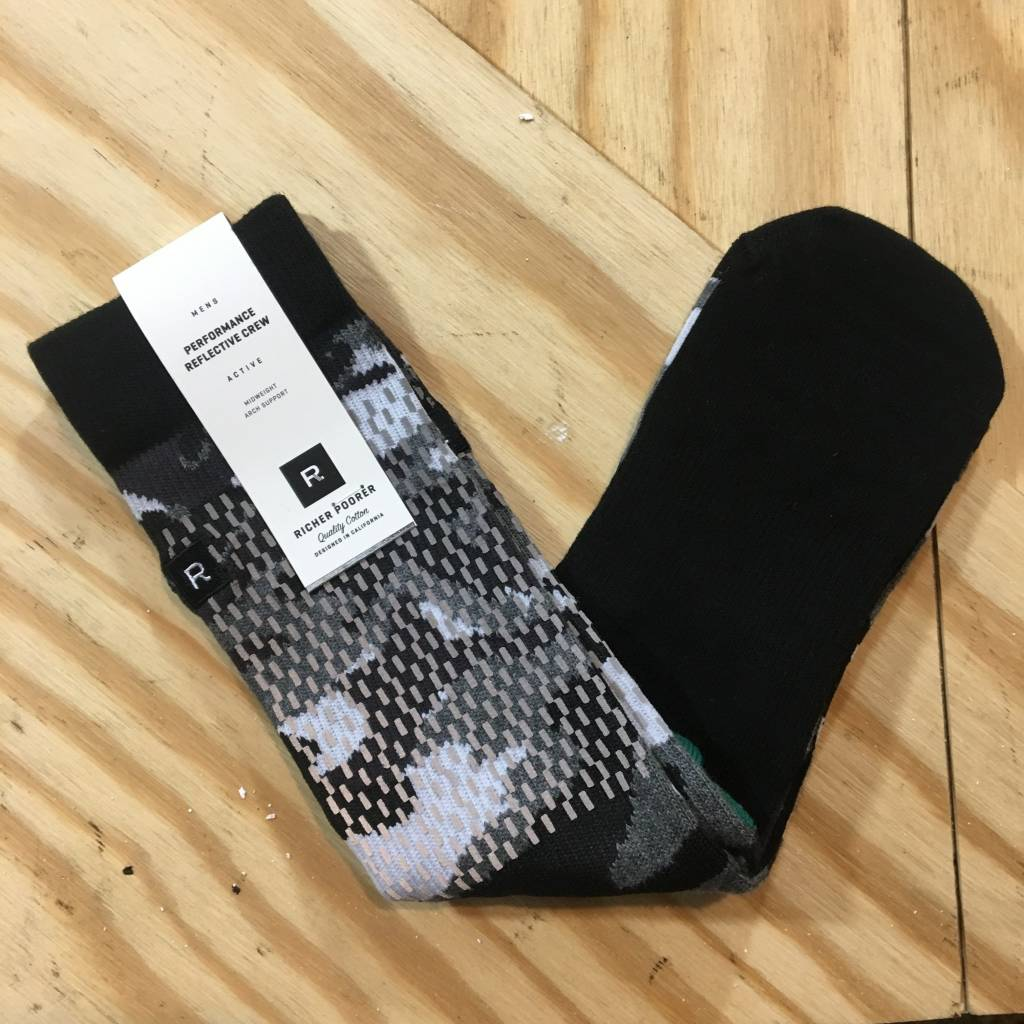 RICHER POORER Rain Camo Reflective Sock Black / Grey