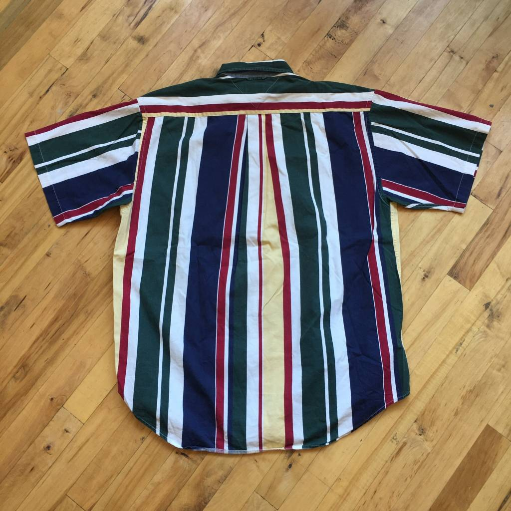 2ND BASE VINTAGE Tommy Hilfiger Stripped Short Sleeve Button Down MD