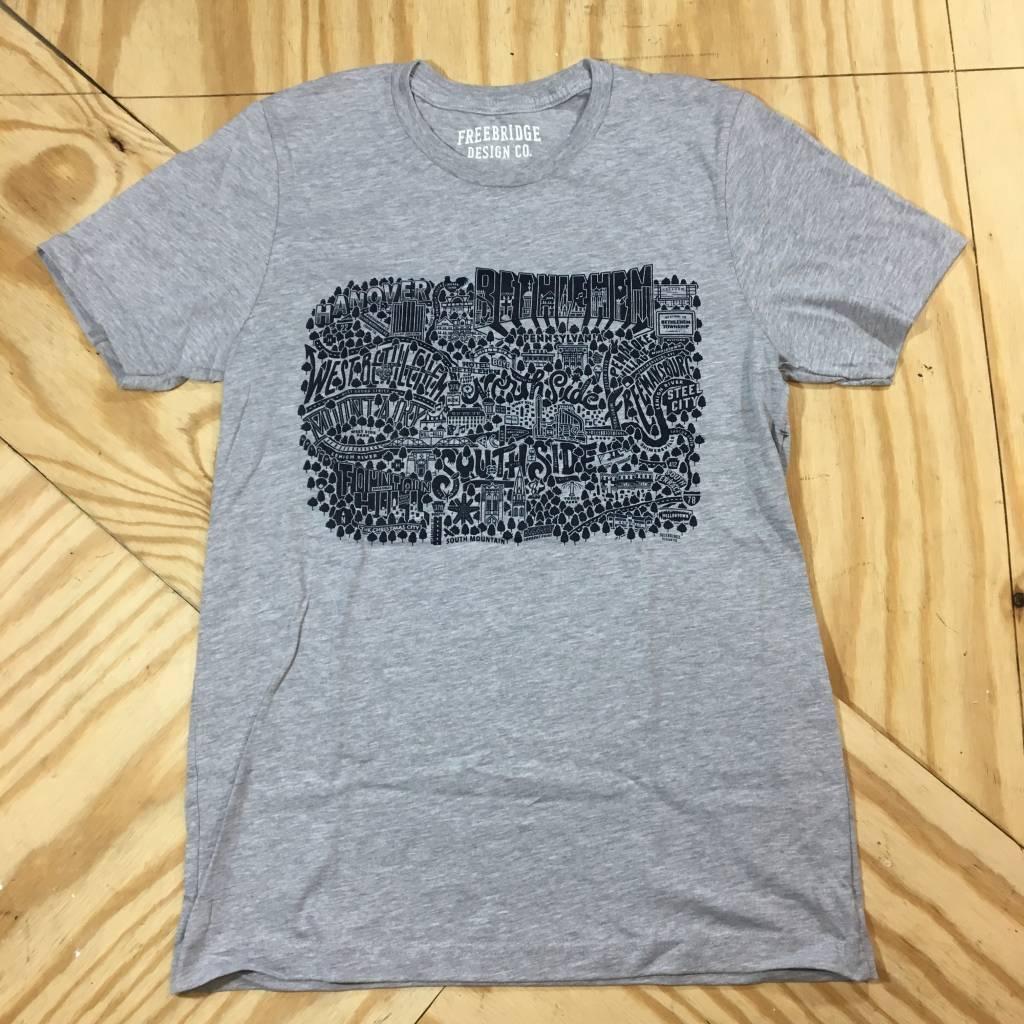 FREEBRIDGE DESIGN Bethlehem Map T-Shirt Grey/ Navy