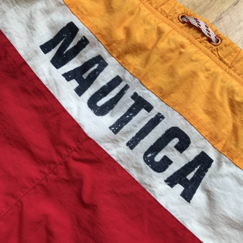 2ND BASE VINTAGE Nautica Color Blocked Swim Trunk Navy/ Red/ White/ Yellow MD
