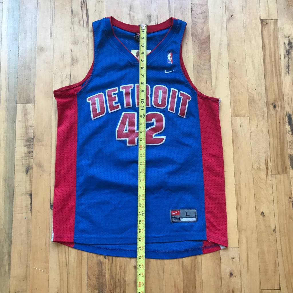 2ND BASE VINTAGE Detroit Pistons Jerry Stackhouse Nike Jersey Blue/ Red LG