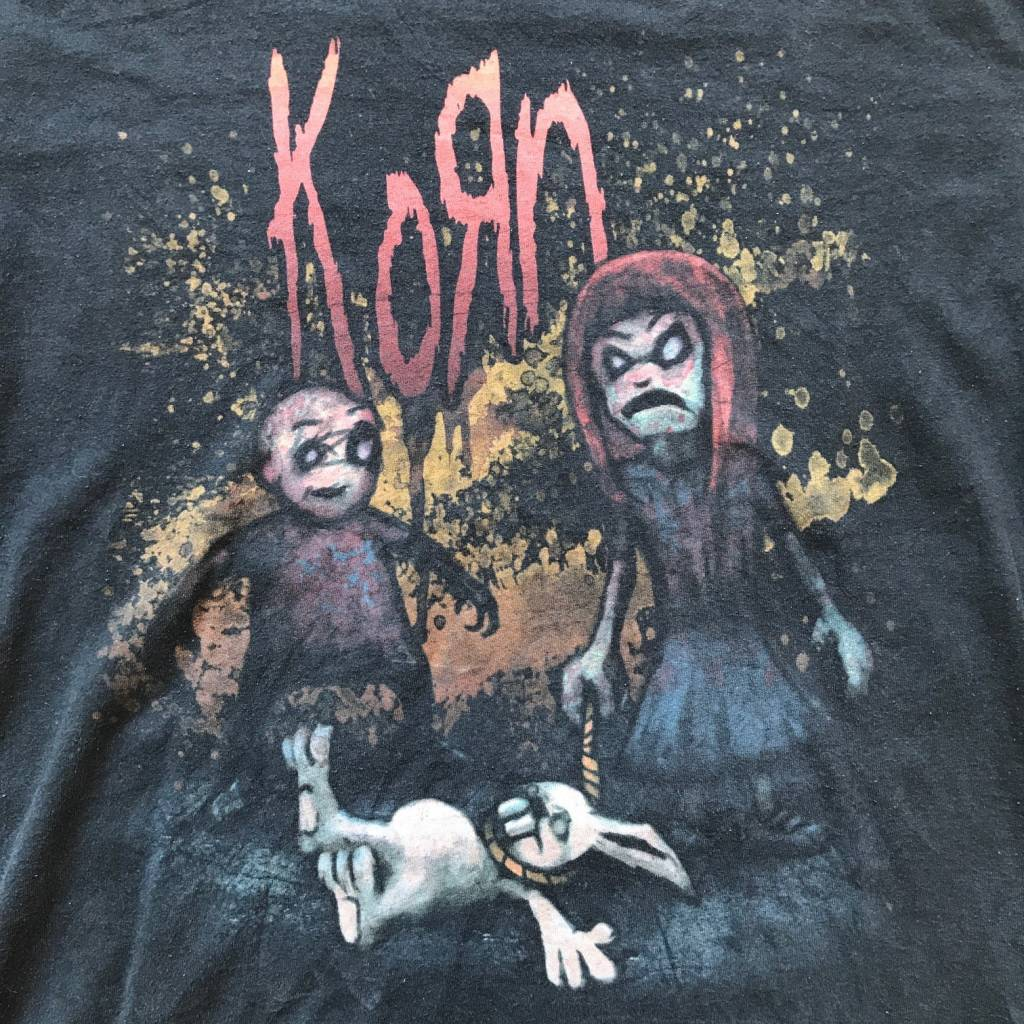 2ND BASE VINTAGE Korn Hanging Rabbit T-Shirt Black LG
