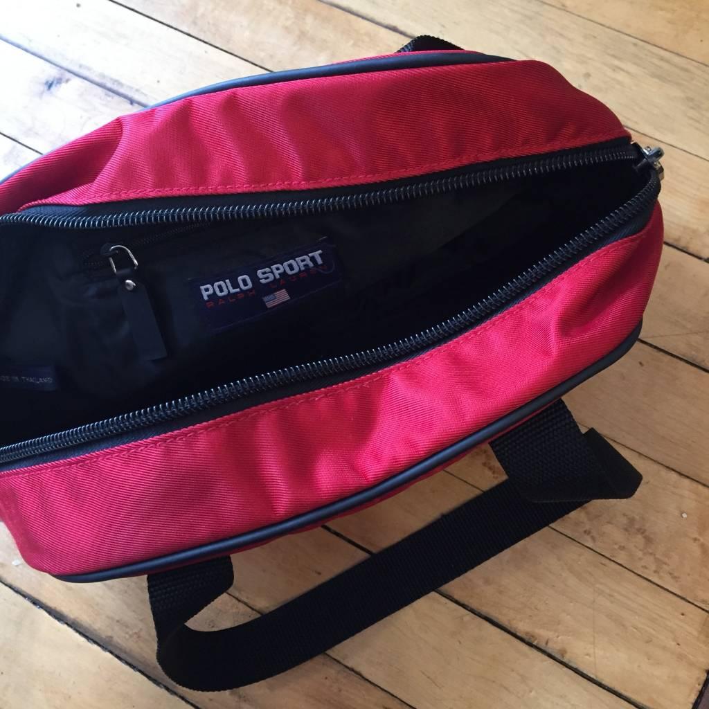 2ND BASE VINTAGE Polo Sport Shoulder Bag Red Black