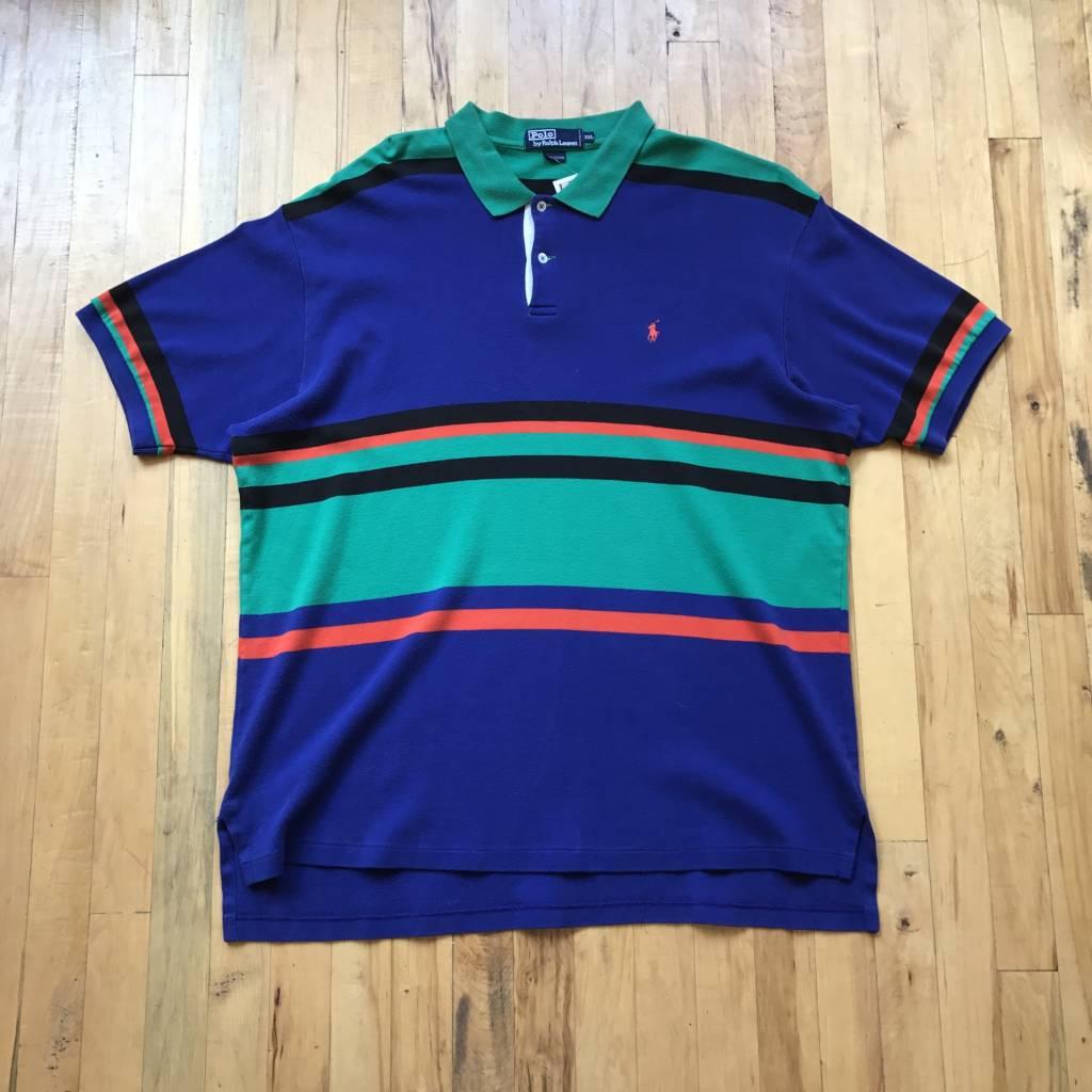 2ND BASE VINTAGE Polo Ralph Lauren Stripeed Polo Shirt Purple Green Orange Black 2XL