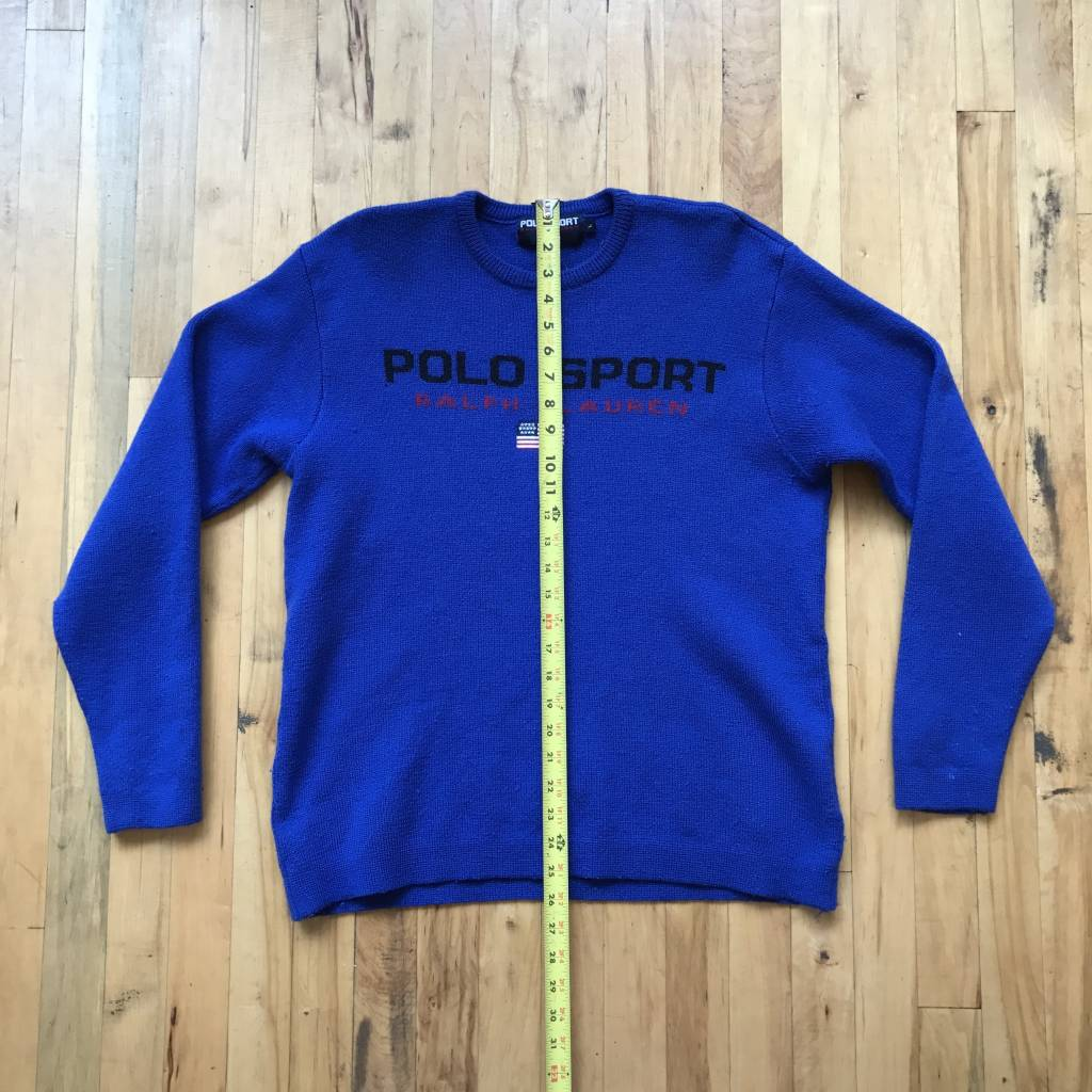 2ND BASE VINTAGE Polo Sport Knit Wool Sweater Blue LG