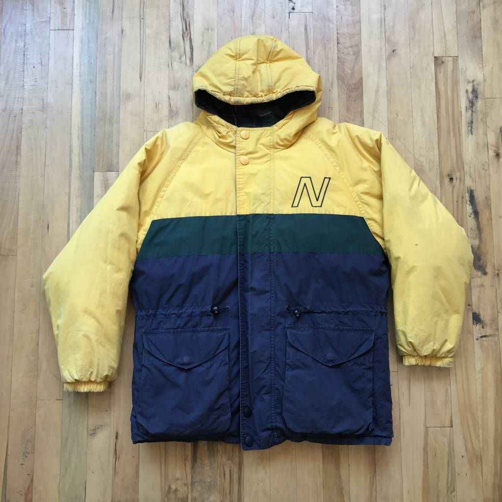 2ND BASE VINTAGE Nautica Reversible Puffer Jacket Yellow Navy Green Plaid XL
