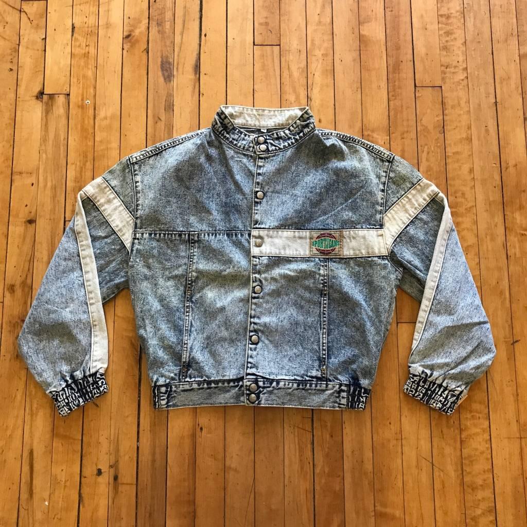 2ND BASE VINTAGE Levi Sport Acid Wash Denim Moto Jacket MD