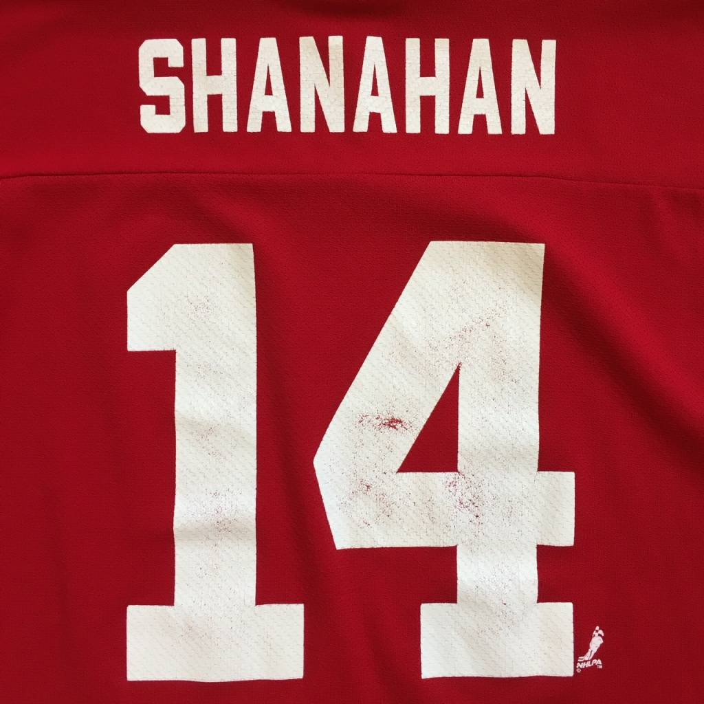 2ND BASE VINTAGE Logo Athletic NHL Detroit Red Wings Shanahan 14  Jersey