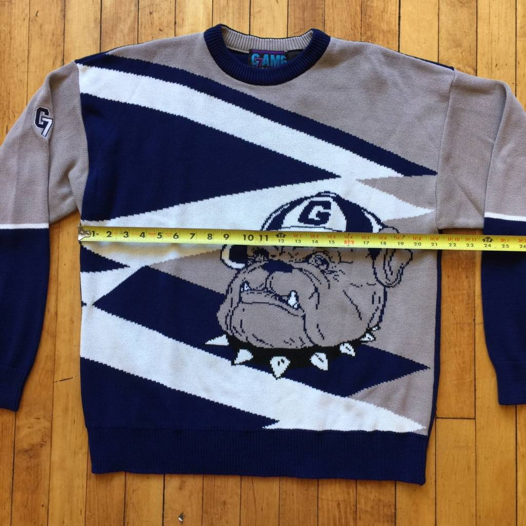 2ND BASE VINTAGE Georgetown Full Knit Colorblocked Crewneck Sweater