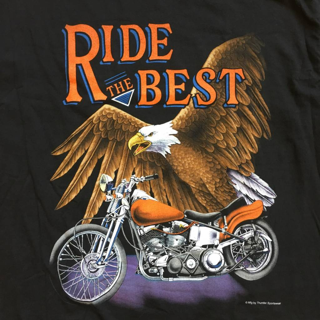 2ND BASE VINTAGE Eagle Motorcycle Ride The Best T-shirt XL