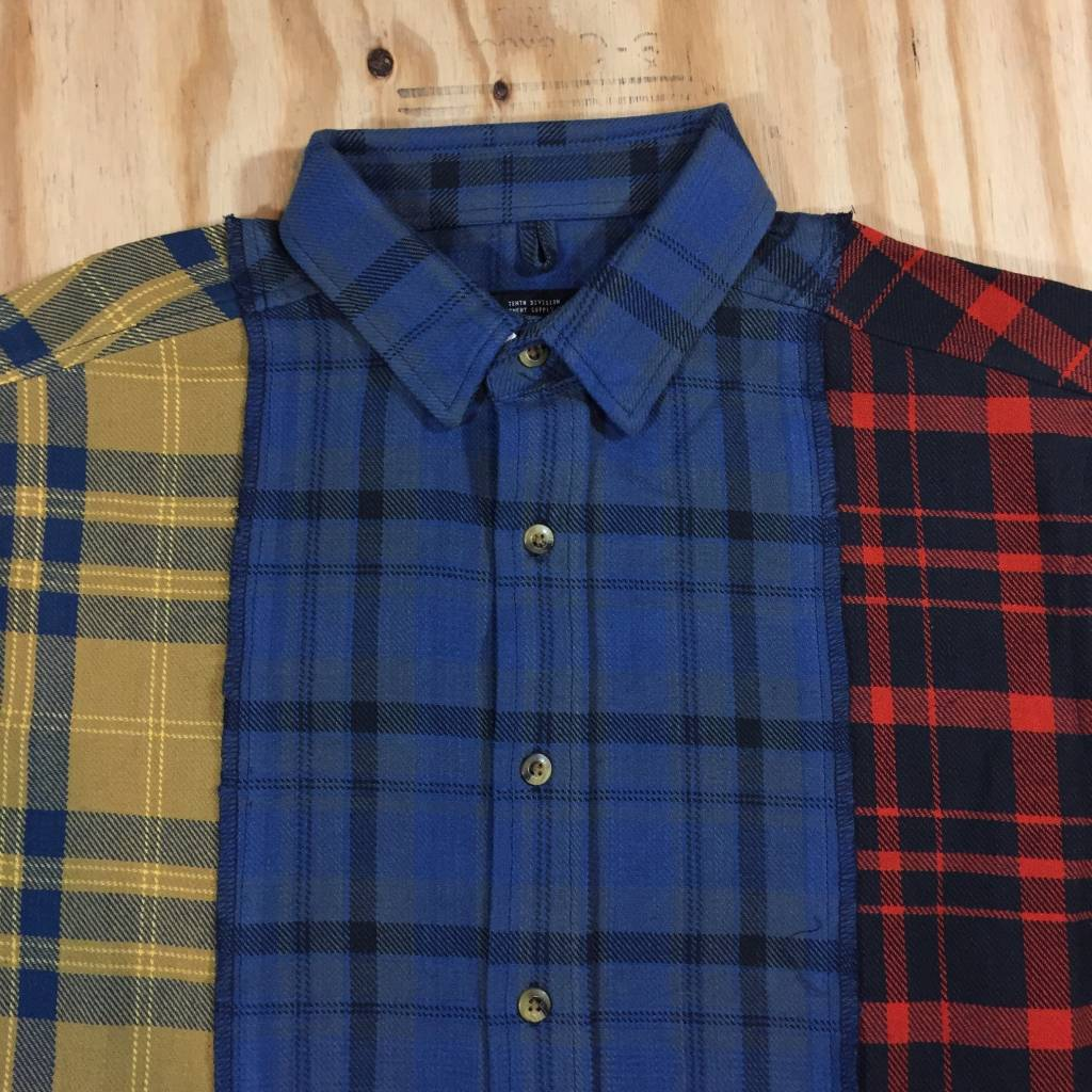 10 DEEP Refurbished Buttondown Flannel Multi Yellow / Blue / Red