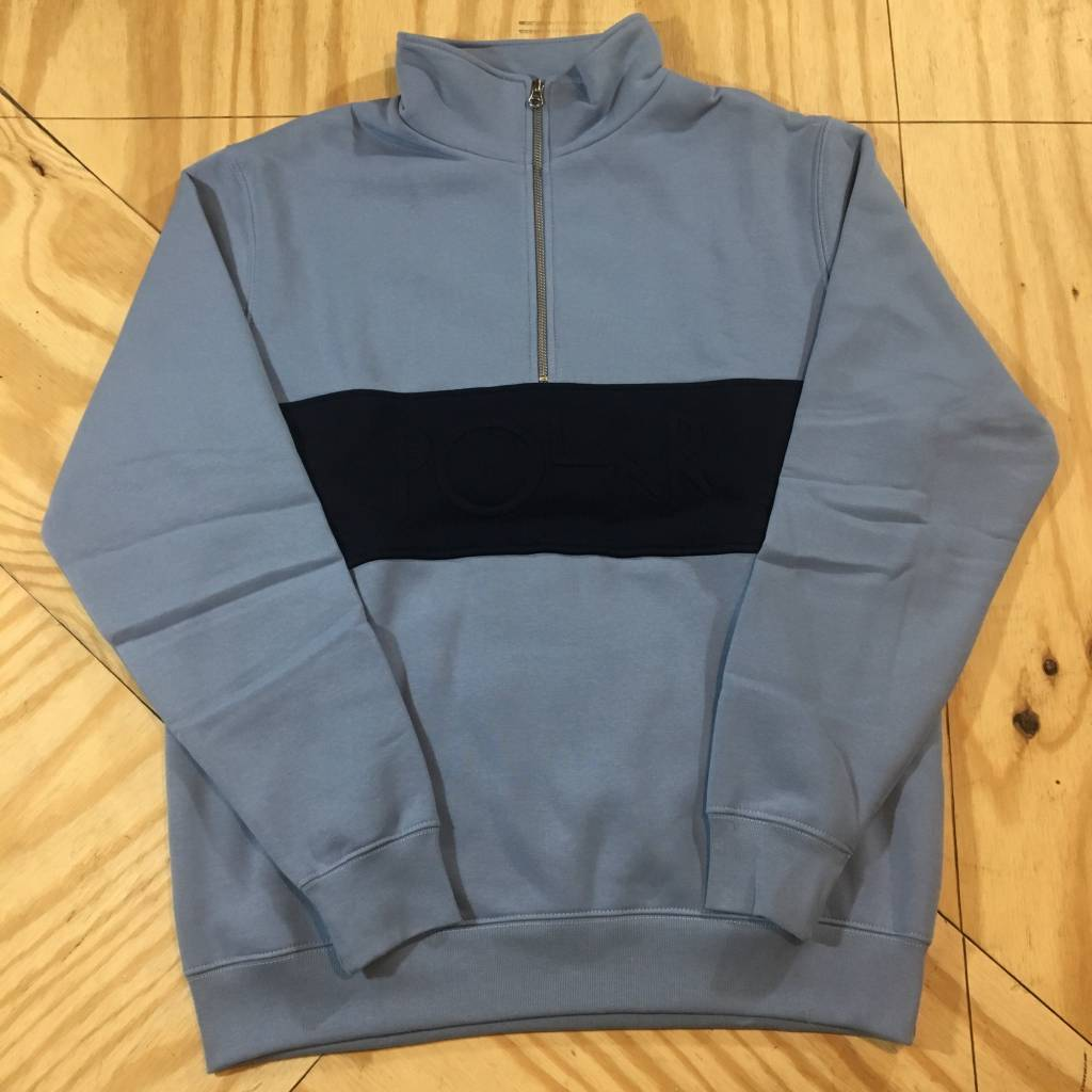 POLAR SKATE CO. Polar Block Zip Sweatshirt Dusty Blue Navy