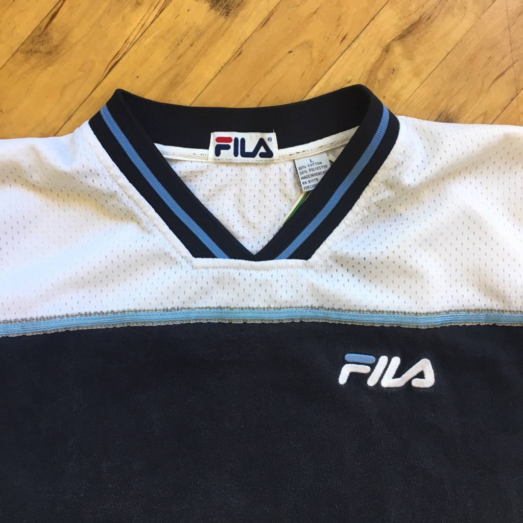 2ND BASE VINTAGE Fila Mesh Split Jersey T-Shirt LG