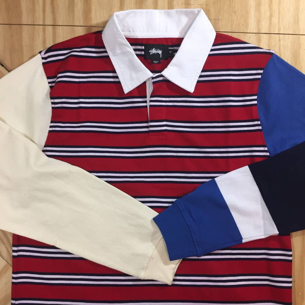 STUSSY Mix Up LS Rugby Red
