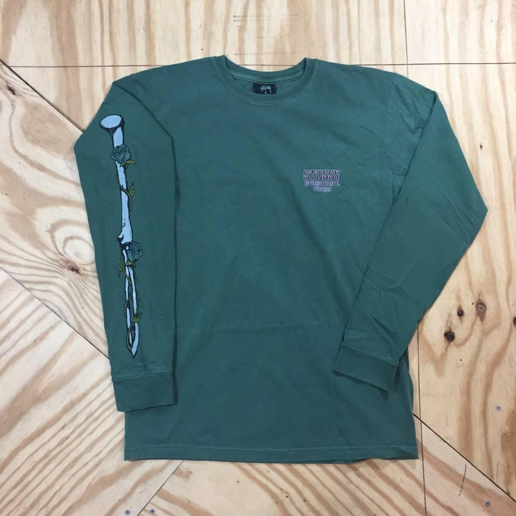 STUSSY Skull & Roses Pigment Dyed LS T-Shirt Green