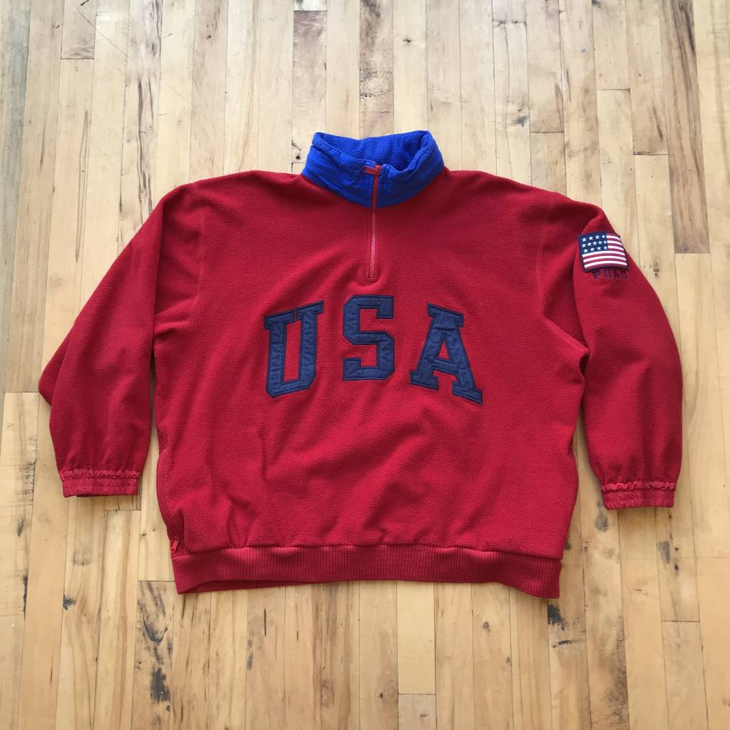 2ND BASE VINTAGE Polo Ralph Lauren USA 1/4 Zip Fleece Pullover LG