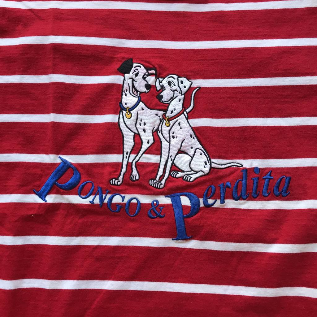 2ND BASE VINTAGE 101 Dalmatians Pongo & Perdita Striped T-Shirt XL